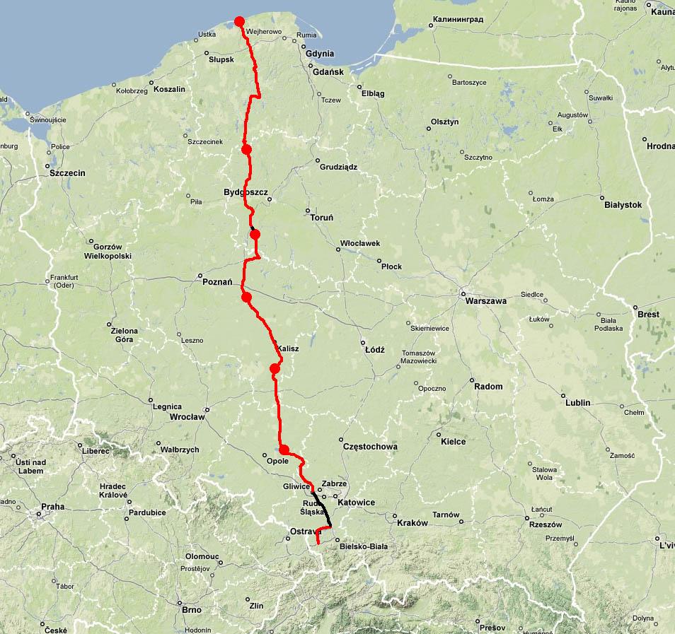 Janusz Gruda Wyprawy Rowerowe Skoczow Leba 2004 Mapa